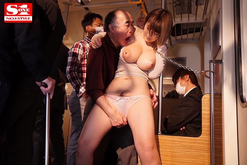 Jカップ女子大生 強・制・連・結 揉まれ続けて爆乳でイカされる満員痴●車両 松本菜奈実  サンプル画像 2
